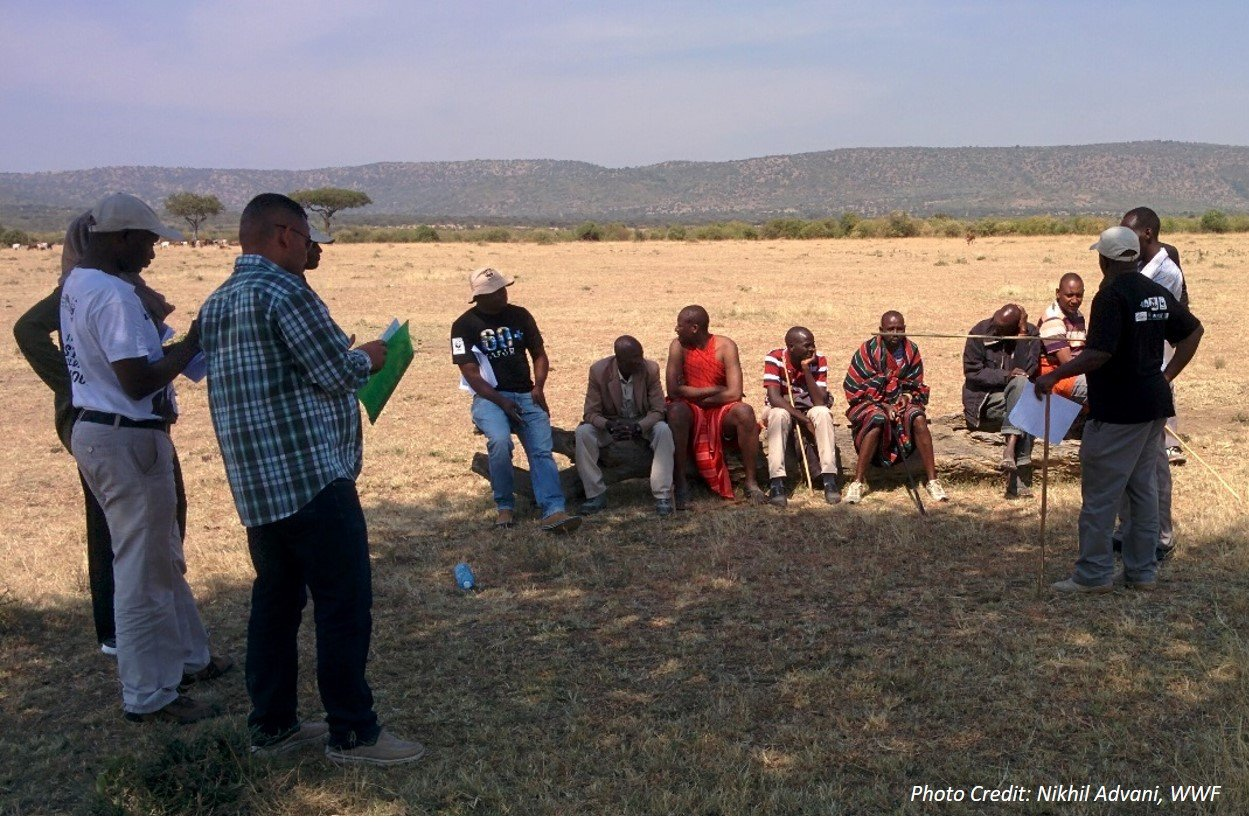 Community interview, Maasai Mara, Kenya. Photo Credit: Nikhil Advani, WWF
