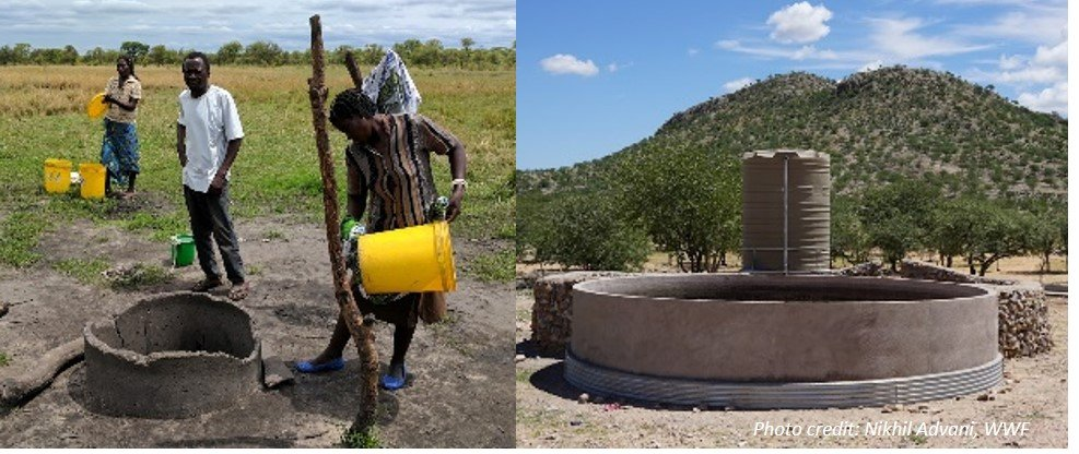 Construction of wells and water tanks help communities maintain water supplies in times of drought, Kenya. Photo credit: Nikhil Advani, WWF